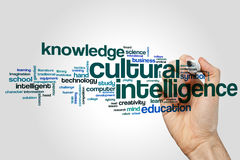 Cultural intelligence word cloud concept on grey background royalty free stock images