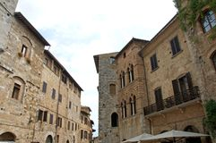 Cultural Medieval architecture heritage in San Gimignano, Italy stock photography