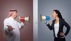Cultural misunderstanding, interracial marriage concept Stock Photos