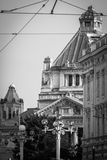 Cultural palace in Arad in black and white. Black and white photo from Arad, Romania Stock Image