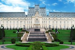 Cultural Palace Iasi in central square in Iasi town. Romania. royalty free stock photo