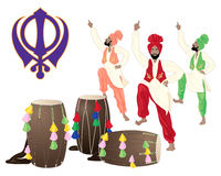 Cultural punjab. An illustration of a punjabi drums male dancers and the sikh symbol on a white background in greeting card format Stock Photography