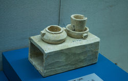 Cultural relics - talc stoves. In 200 AD, during the eastern han dynasty unearthed cultural relics - four foot pedestal talc granary. Beautifully made granary is Stock Photo