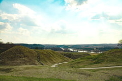 Cultural reserve of Kernave. The panorama of Pajauta valley, the mounds and Neris near Kernav Royalty Free Stock Image
