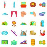 Cultural rest icons set, cartoon style. Cultural rest icons set. Cartoon set of 25 cultural rest icons for web isolated on white background Royalty Free Stock Image
