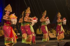CULTURAL SCHOLARSHIP. Participants of Indonesia's Cultural Study Scholarship program are performing Indonesian dances and music at Indonesia Chanel event at Solo Royalty Free Stock Images