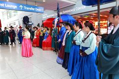 Cultural show at Incheon International Airport. Display and showcase the traditional royal family Royalty Free Stock Photography