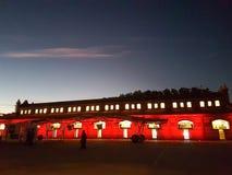 Night sunset over iluminated building Stock Images