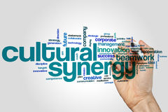 Cultural synergy word cloud concept on grey background.  Royalty Free Stock Images
