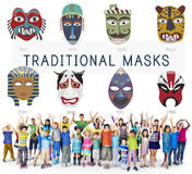 Cultural Traditional Masks Global Concept Stock Photos