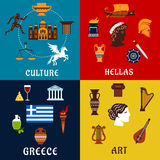 Culture, art and history icons of Greece Stock Images
