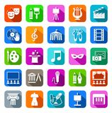 Culture and art, icons, colored, flat. Stock Photo