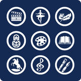 Culture and Art icons (set 12, part 2). Culture and Art 9 icons (set 12, part 2 Royalty Free Stock Image