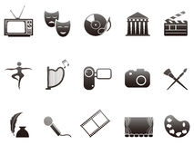 Culture and art icons set. Black culture and art icons set from white background Royalty Free Stock Photo