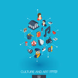 Culture and art integrated 3d web icons. Digital network isometric concept. Culture, art integrated 3d web icons. Digital network isometric interact concept Stock Images