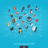 Culture, art integrated 3d web icons. Digital network isometric interact concept. Connected graphic design dot and line system. Background for theater artist Stock Image