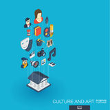 Culture and art integrated 3d web icons. Growth progress concept. Culture, art integrated 3d web icons. Digital network isometric progress concept. Connected Stock Images