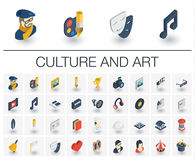 Culture and art isometric icons. 3d vector. Isometric flat icon set. 3d vector colorful illustration with culture, art, literature symbols. Artist palette Royalty Free Stock Photo