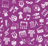 Culture and art, seamless pattern, shading, pencil, purple, vector. Leisure and cultural activities. Cultural events and the attributes of art. White icons on Stock Photos