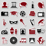 Culture and art theme simple stickers icons set eps10 Stock Photo