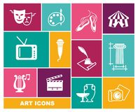 Culture and Art vector icons in flat style stock illustration