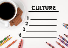Culture blank list. White desk with a pencil and a cup of coffee.  Royalty Free Stock Photography