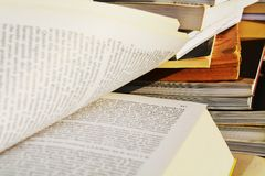 Culture and books, open pages, close up Stock Photography
