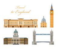 Culture, buildings and attractions of London, Great Britain, United Kingdom. Travel to England. Landmarks, building, attractions of London, Great Britain vector illustration