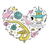 Culture of China in the form of heart. Hand drawn Chinese symbol. S. Vector illustration. Pink, cinnamon, turquoise color Royalty Free Stock Photos