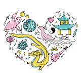 Culture of China in the form of heart. Hand drawn Chinese symbol. S. Vector illustration. Pink, cinnamon, turquoise color Stock Images