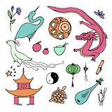 Culture of China icons. Hand drawn Chinese symbols. Royalty Free Stock Photography