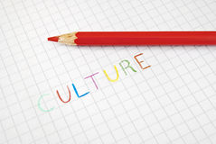 Culture coloured writing. Culture writing made with multicolour pencils in elementary school style Royalty Free Stock Photography