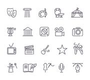 Culture and Creative Fine Art Line Icons Set Royalty Free Stock Photography