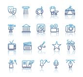 Culture and Creative Fine Art Line Icons Set. Outlined arts and entertainment icon set in a white background Stock Images