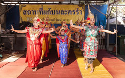 Culture dance show in Songkarn Festival Stock Photo