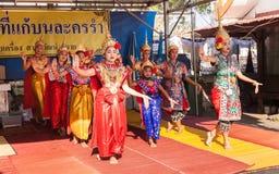 Culture dance show in Songkarn Festival Stock Photos
