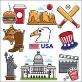 Culture des Etats-Unis Amérique et icônes de points de repère de voyage d'Amercian réglées Illustration de Vecteur