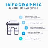 Culture, globale, hindouisme, Inde, Indien, Sri Lanka, ligne icône de temple avec le fond d'infographics de présentation de 5 éta illustration stock