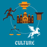 Culture Greece concept with flatl icons Royalty Free Stock Photography