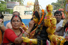 Culture of Hinduism. Hindu Goddess Durga for immersion into the river Ganges on the last day of the Durga Puja festival in Kolkata, India, The five-day festival Stock Photo