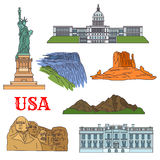Culture, history, nature travel sights of USA icon Stock Image