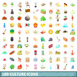 100 culture icons set, cartoon style. 100 culture icons set in cartoon style for any design vector illustration Royalty Free Stock Photo