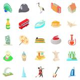 Culture icons set, cartoon style Stock Images