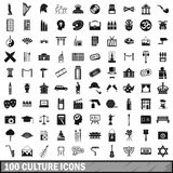 100 culture icons set, simple style. 100 culture icons set in simple style for any design vector illustration Royalty Free Stock Photo