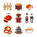 Culture icons set. Traditional chinese elements. Vector illustration in cartoon style stock illustration
