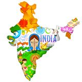 Culture of India. Illustration of Indian map showing culture of India stock illustration