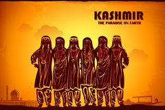 Culture of Kashmir. Illustration depicting the culture of Kashmir, India Royalty Free Stock Image
