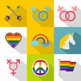Culture LGBT icons set, flat style Royalty Free Stock Photos