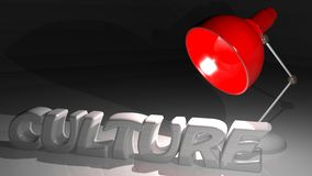 Culture on the light. CULTURE in white letters on a white desk, under a red desktop-lamp Royalty Free Stock Images