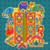 Culture of Rajasthan in Indian art style Stock Photography